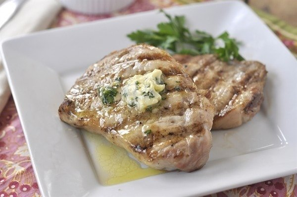 Grilled Pork Chop with herb butter