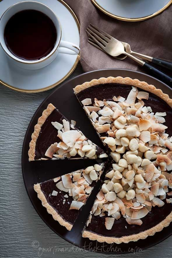 Chocolate, Coconut, Macadamia Nut Tart