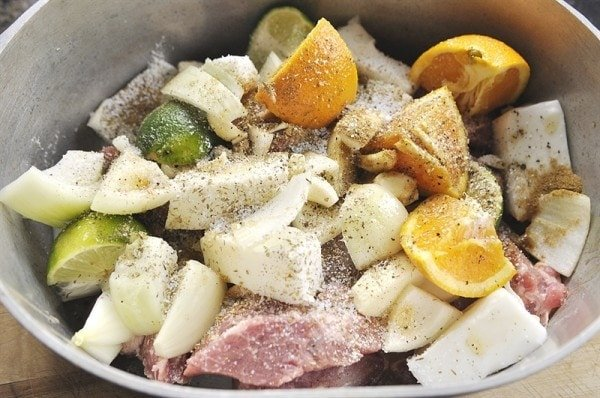 preparing pork carnitas