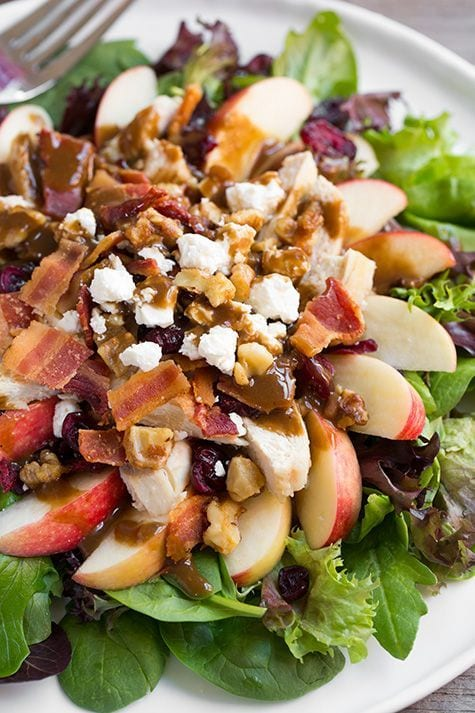 Chicken Apple Bacon Walnut Salad with Balsamic Vinaigrette
