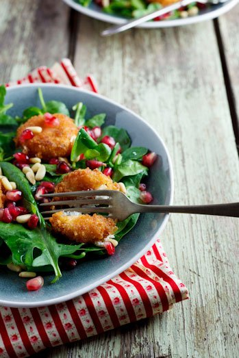 Fried Goat Cheese and Pomegranate Salad