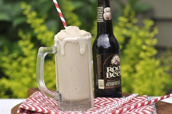 root beer whirl with a red and white straw