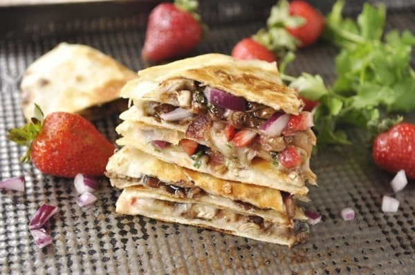 Balsamic Strawberry and Chicken Quesadilla