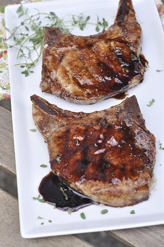 Balsamic Glazed Grilled Pork Chop - your homebased mom