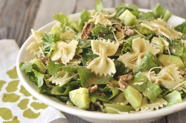 bowl of Caesar salad with pasta