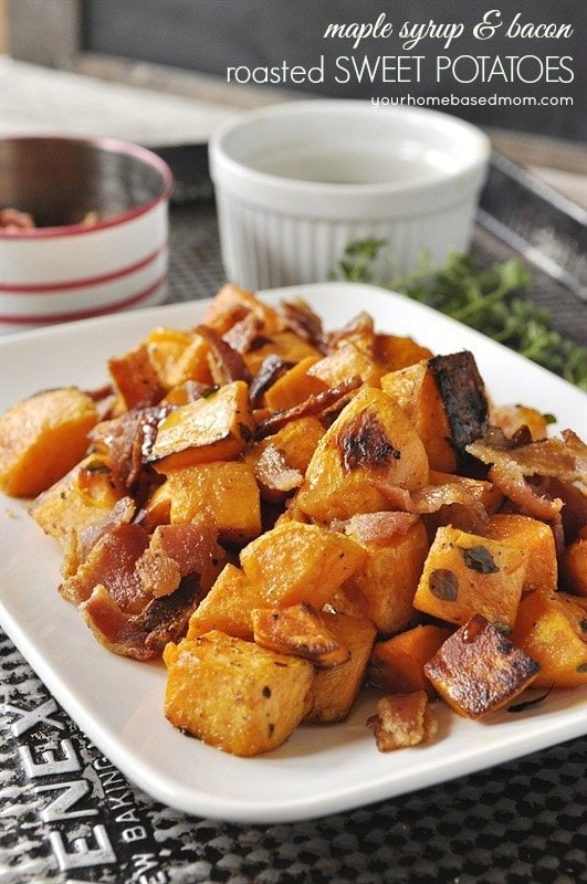 Maple Syrup & Bacon Roasted Sweet Potatoes - your homebased mom