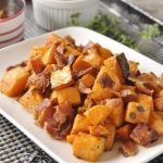 roasted sweet potatoes on a serving plate