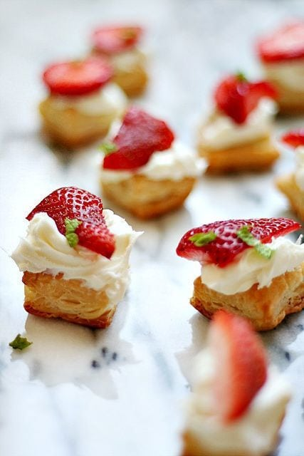 Strawberry Pastry Bites with Mascarpone