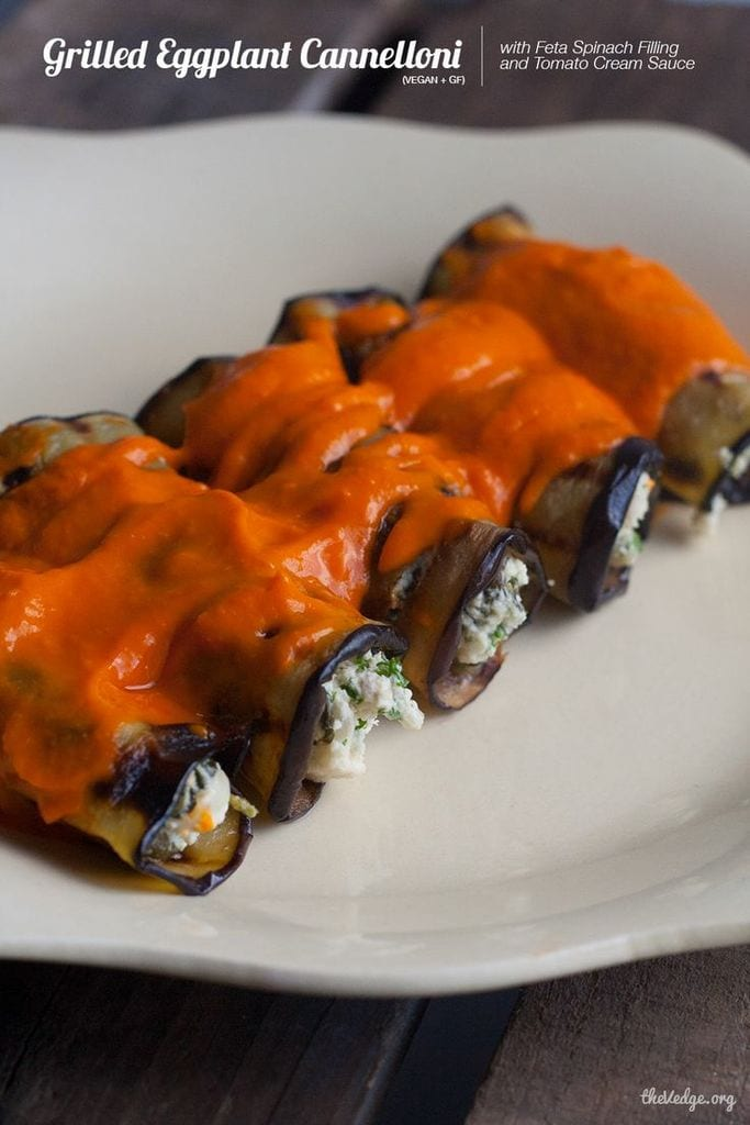 Grilled Eggplant Cannelloni with Feta Spinach Filling and Tomato Cream Sauce