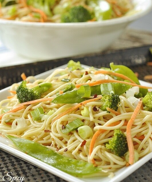 Plate of spicy sesame noodle salad