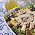 apple pecan chicken salad in a bowl