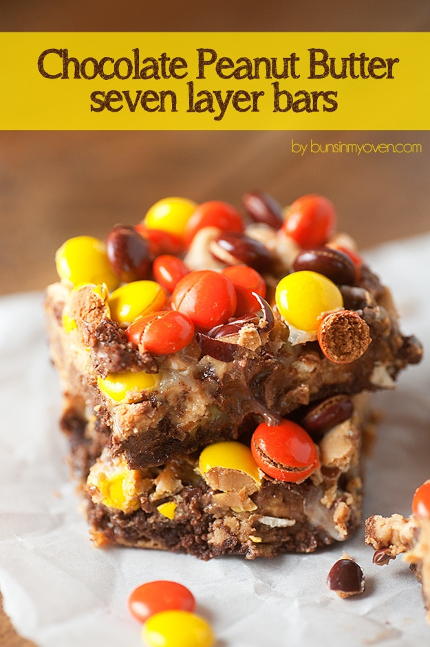 Chocolate Peanut Butter Seven Layer Bars