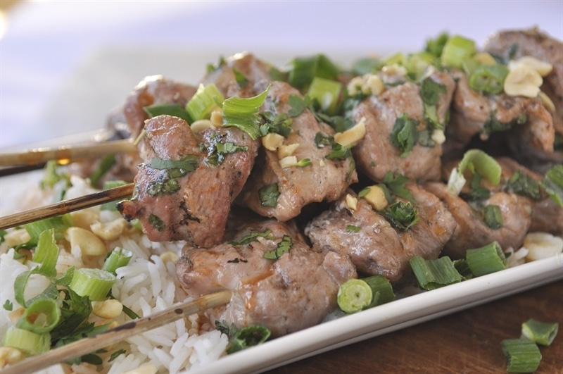 Cilantro Lime Coconut Pork Kebobs