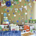 party backdrop with polka dots