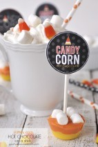 Candy Corn Hot Chocolate on a Stick