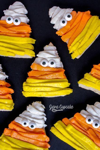 Candy Corn Mummy Sugar Cookies