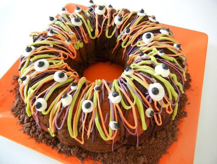 Tri-color Halloween Bundt Cake