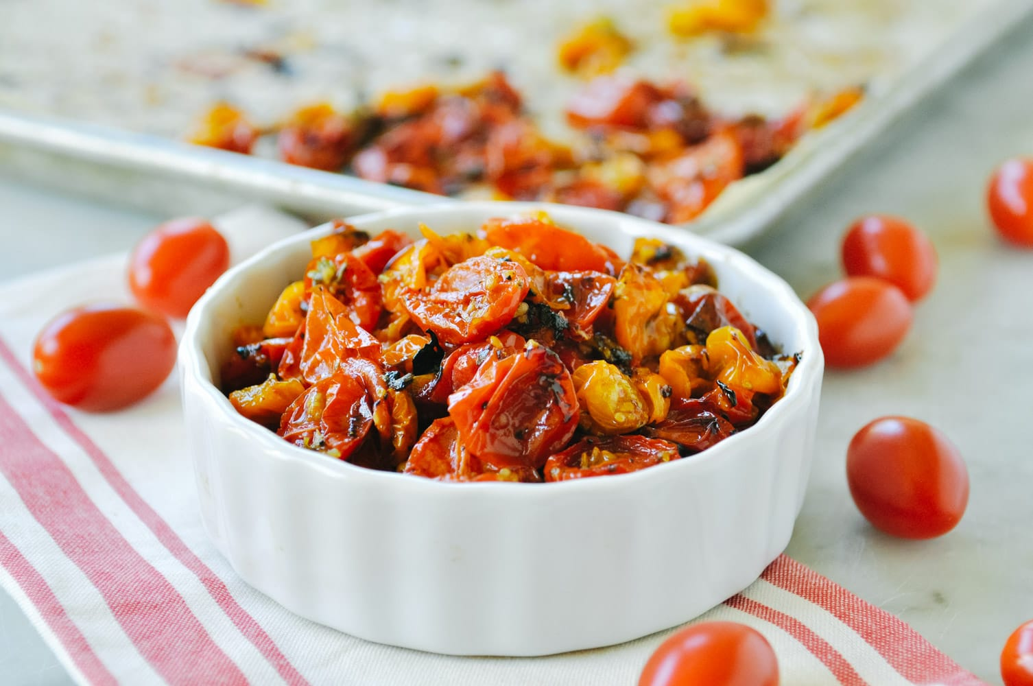 roasted cherry tomatoes in a bowl