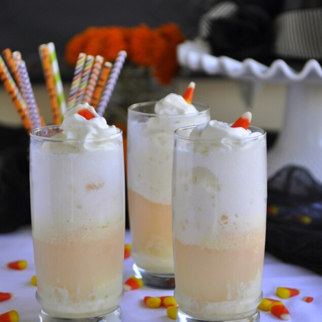 candy corn ice cream floats