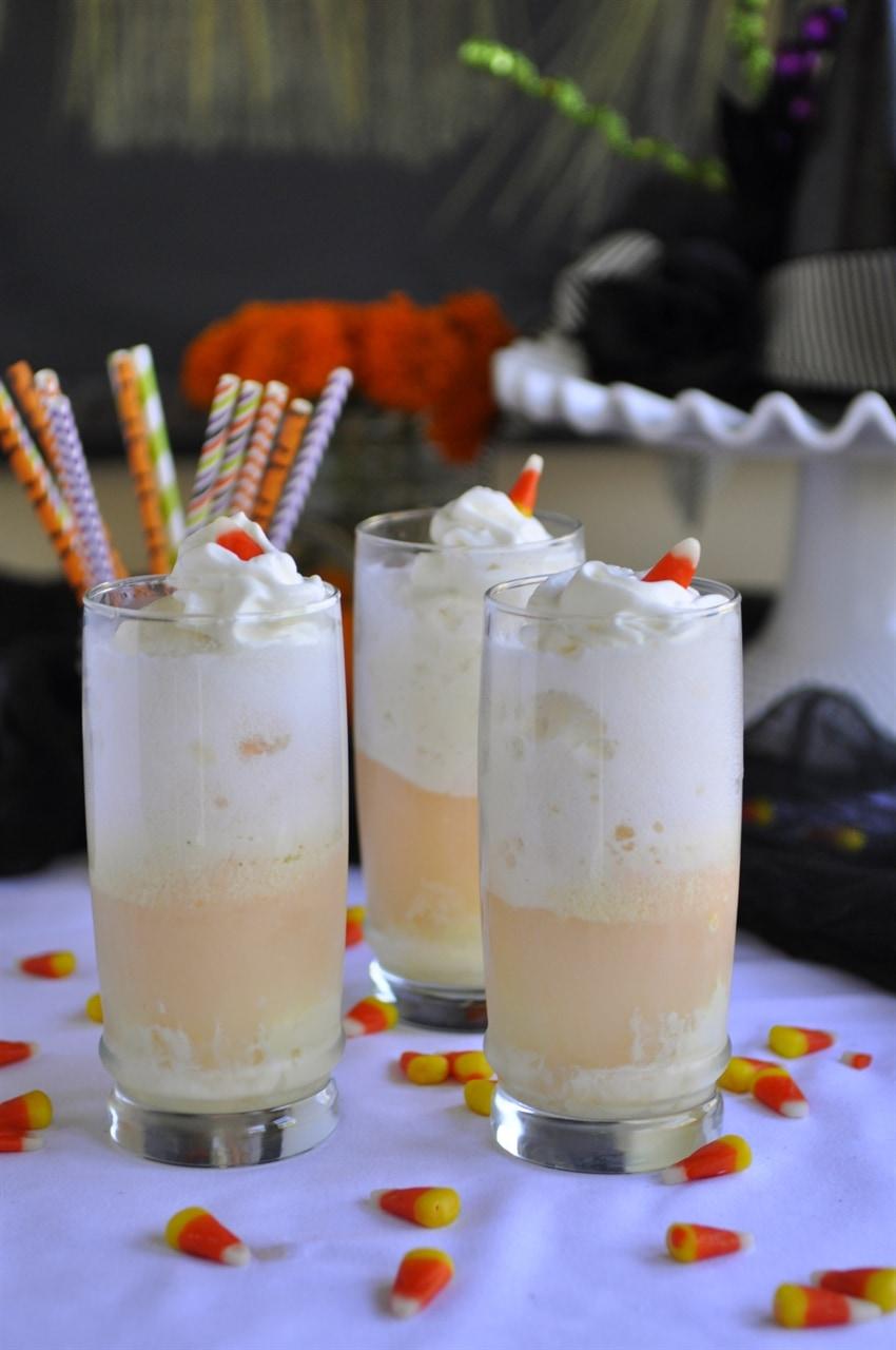 candy corn ice cream floats