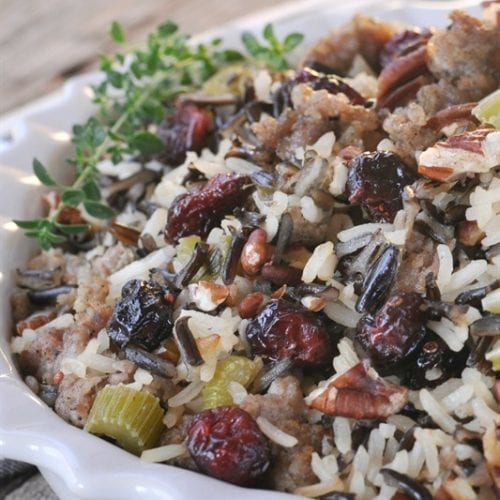 Wild Rice, Dried Cherry & Jones Sausage Dressing