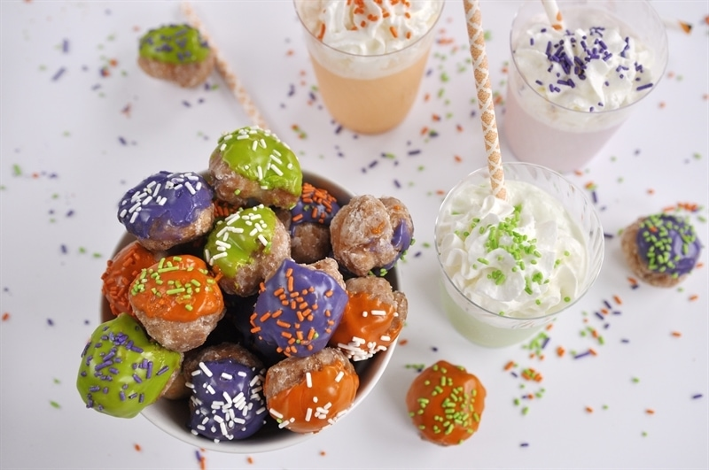 Halloween Donut Holes and Flavored Milk