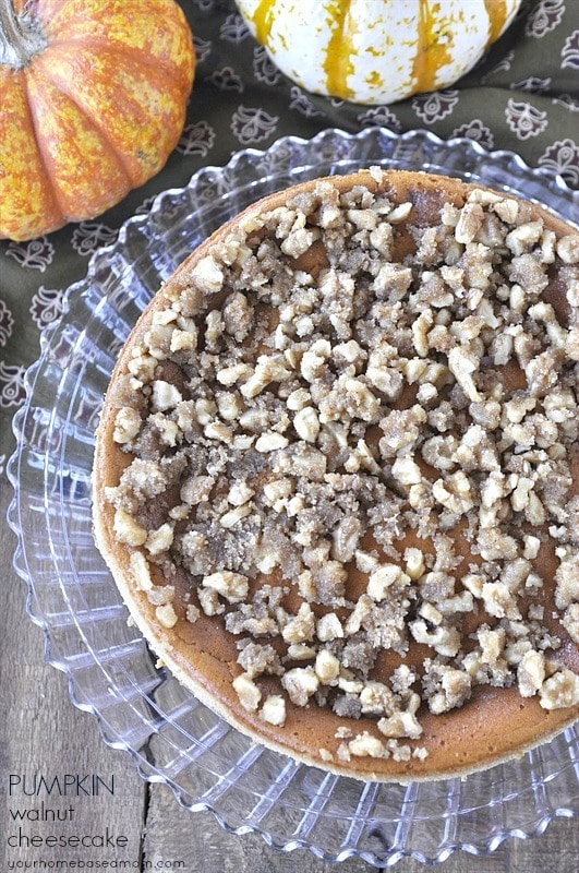 Pumpkin cheesecake topped with walnut streusel