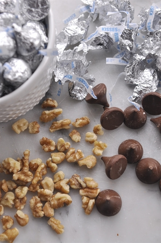 walnuts and hershey kisses