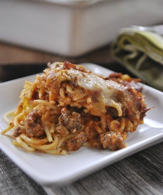 plate of baked spaghetti