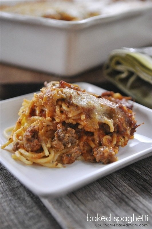 Baked spaghetti is easy, delicious and fun to eat. I served it at our ...