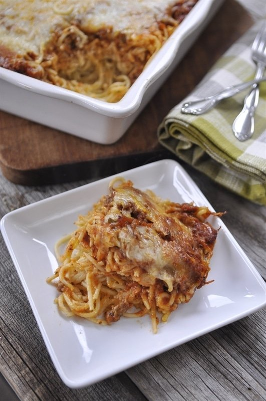 single serving of Baked Spaghetti
