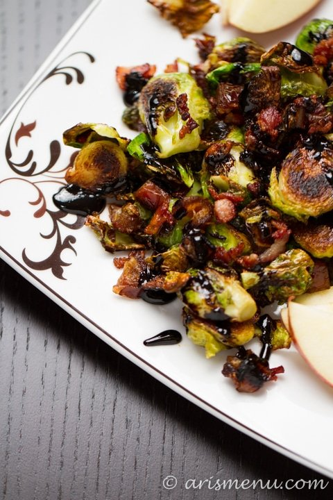 Brussels Sprouts with Apple, Bacon & Dates from Ari's Menu