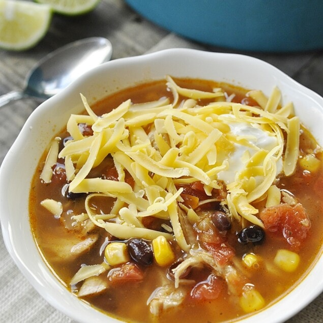 bowl of fiesta turkey soup