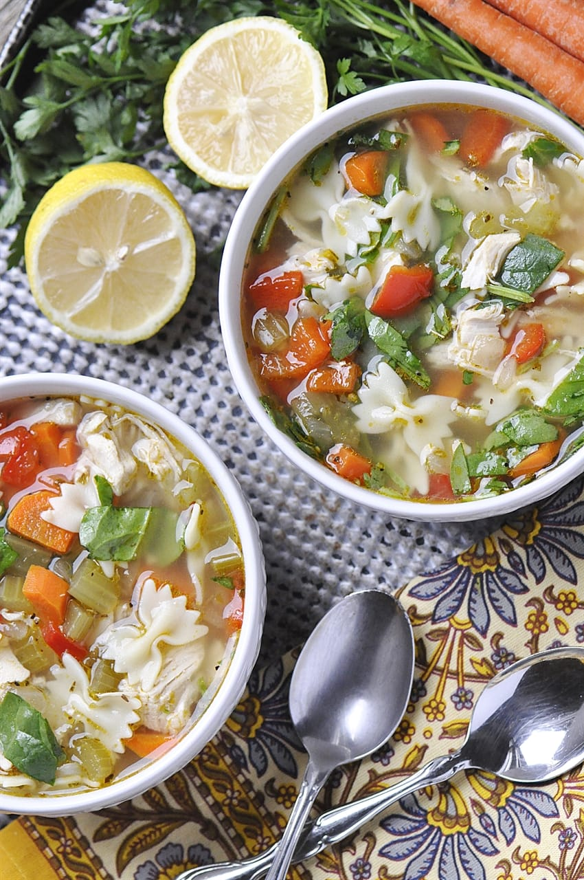 TWO BOWLS OF LEMON TURKEY SOUP using Thanksgiving Leftovers