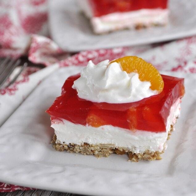 orange cranberry jello on plate