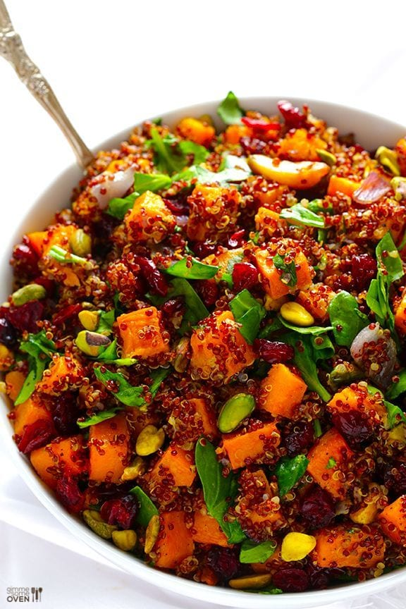 Quinoa 'Stuffing' (Quinoa with Butternut Squash, Cranberries & Pistachios)