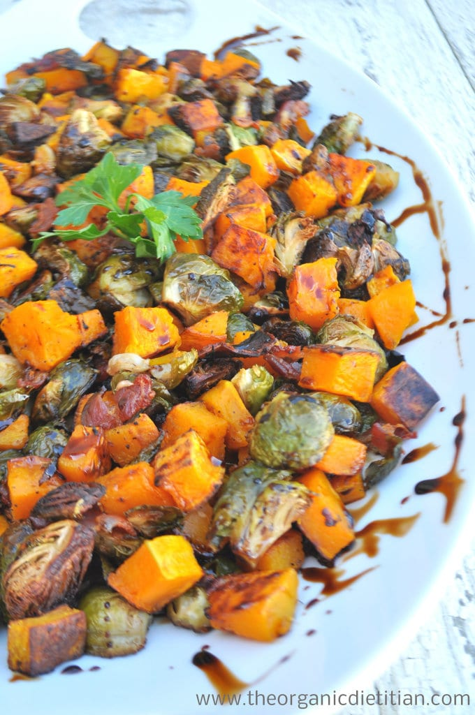 Roasted Brussel Sprouts and Butternut Squash with Balsamic Glaze