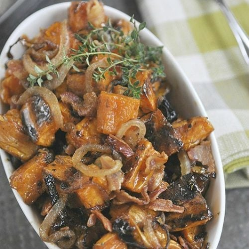 Maple Bacon Roasted Sweet Potatoes with Caramelized Onions