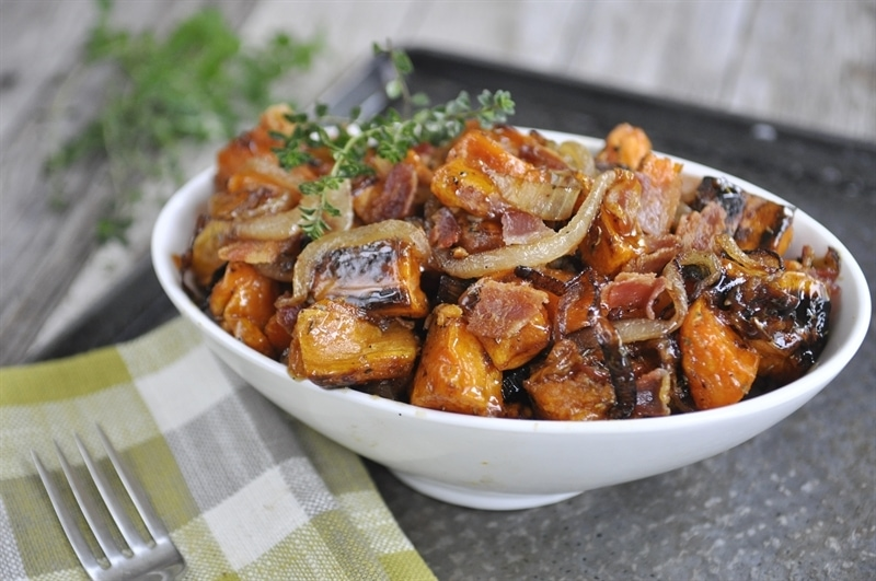Maple Bacon Roasted Sweet Potatoes with Caramelized Onions - your ...