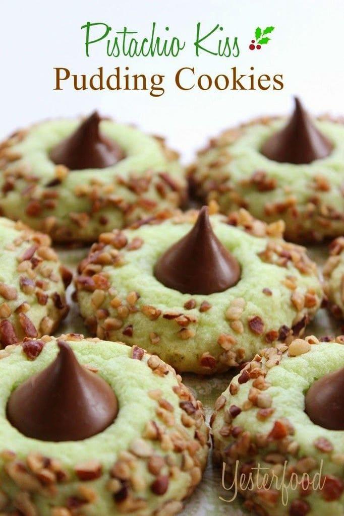 Pistachio Kiss Pudding Cookies