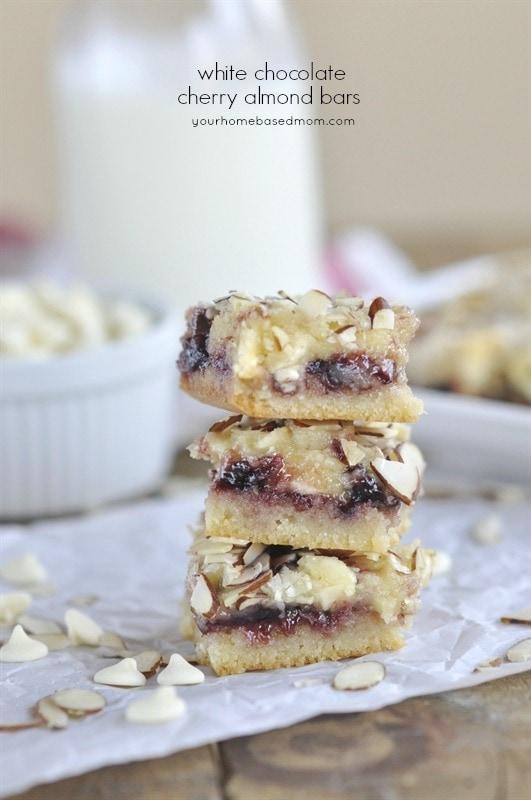 White Chocolate Cherry Almond Bars - your homebased mom