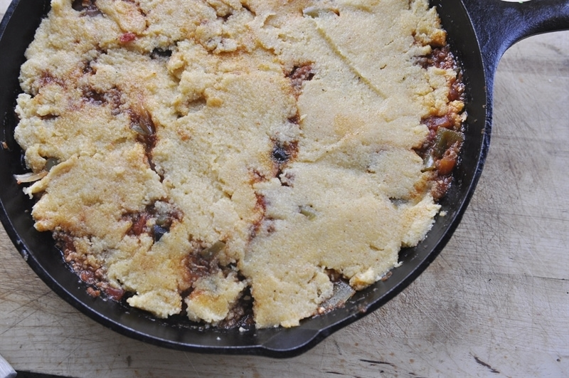 tamale pie in a cast iron skillet