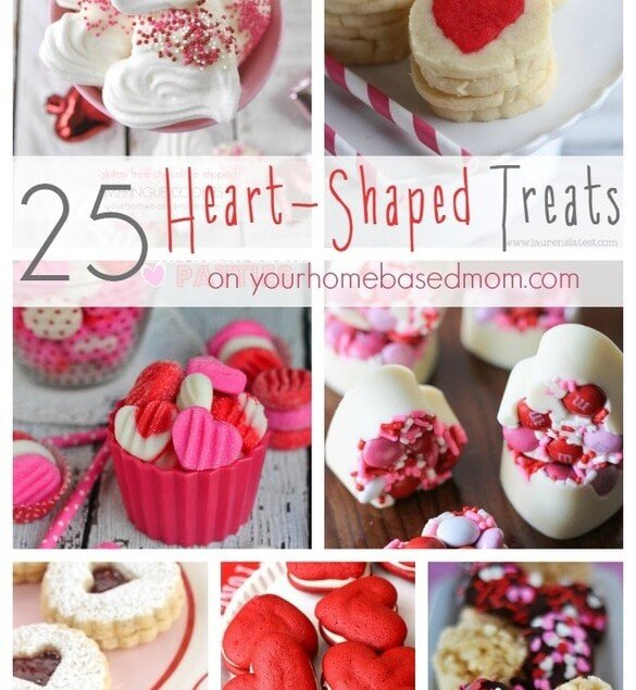 collage of heart shaped treats