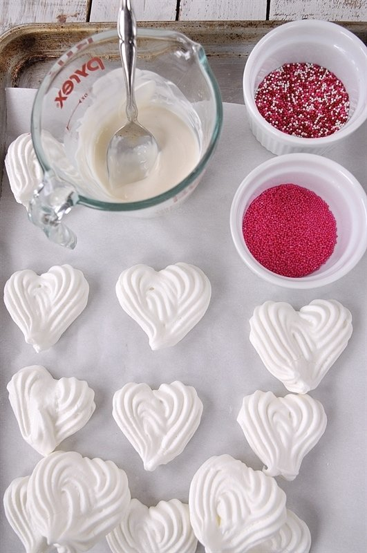 Meringue Hearts waiting to be dipped in chocolate