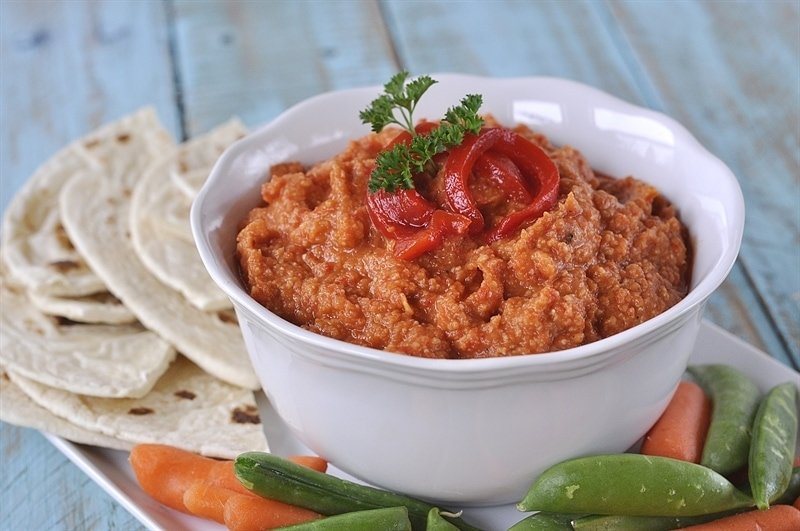 Roasted Red Pepper Hummus - your homebased mom