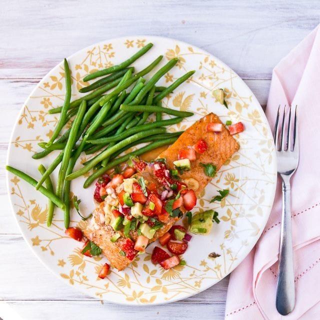Salmon with Strawberry-Avocado Salsa