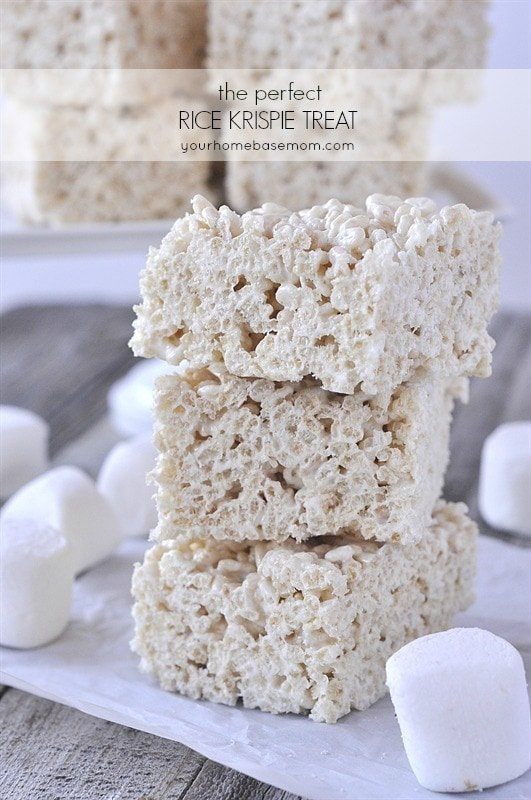 rice crispy treats stacked on a plate