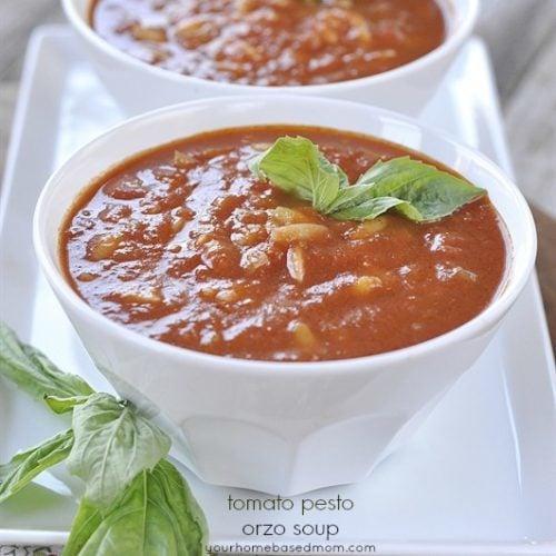 Tomato Pesto Orzo Soup