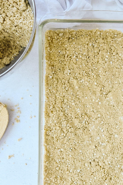 oatmeal crumbs in pan