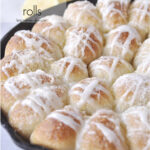 cast iron pan of lemon rolls